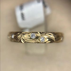 NWT Engraved Diamond Band, 14kt Yellow Gold